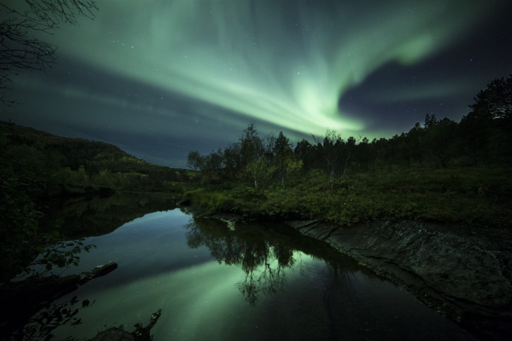 Northern Lights over a little lake in auutmn (c) Petter Formo