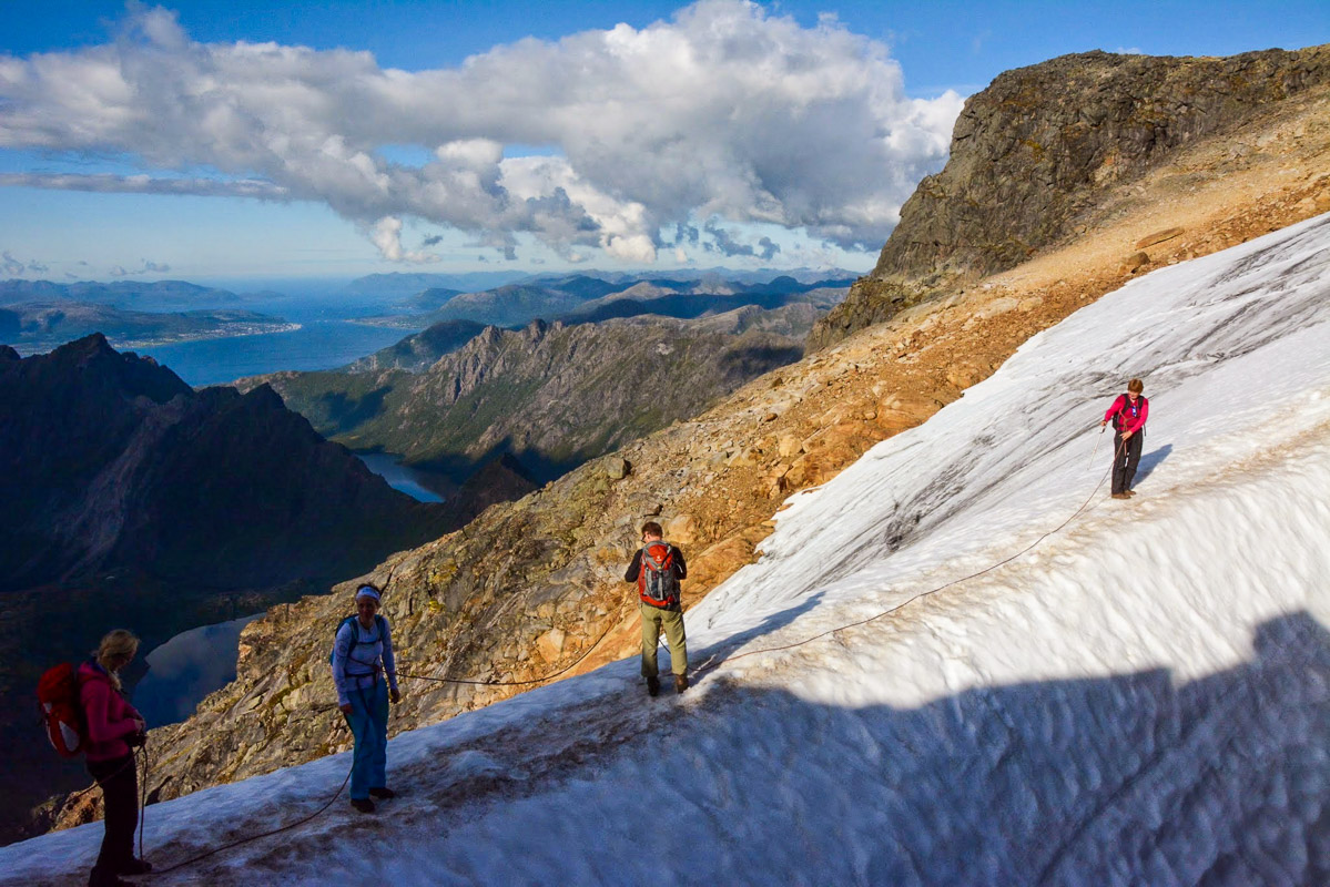 On the way up crossing a glacier. For your own safety don't go alone up Møysalen without at least crampons © Knut Hansvold