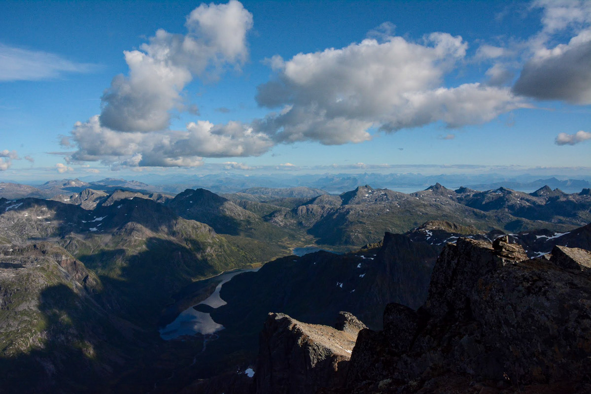 The view from the top looking East, one of the tops is Sweden's highest mountain © Knut Hansvold