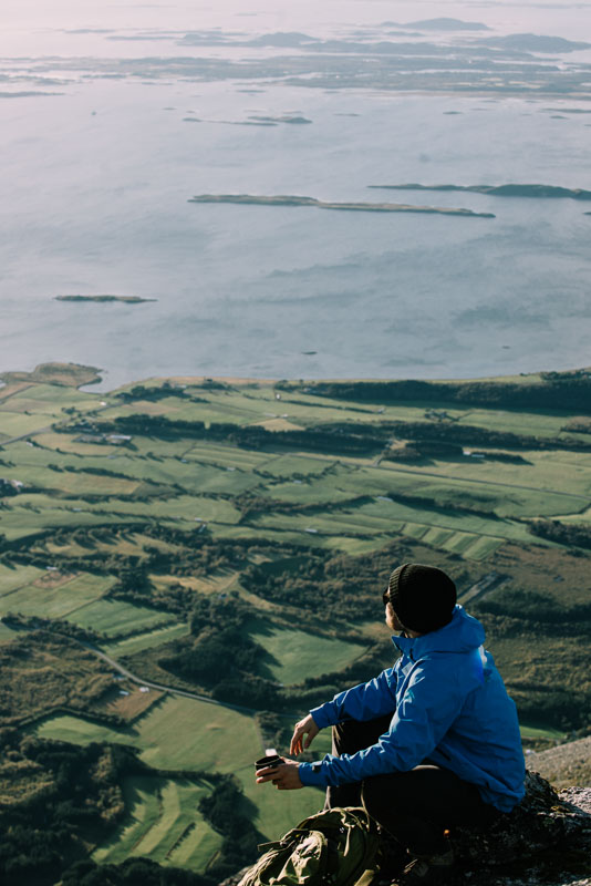 From the top of Kvasstinden you can see over much of Helgeland's islands © Emil Sollie - Brixton Frames / Helgeland Reiseliv