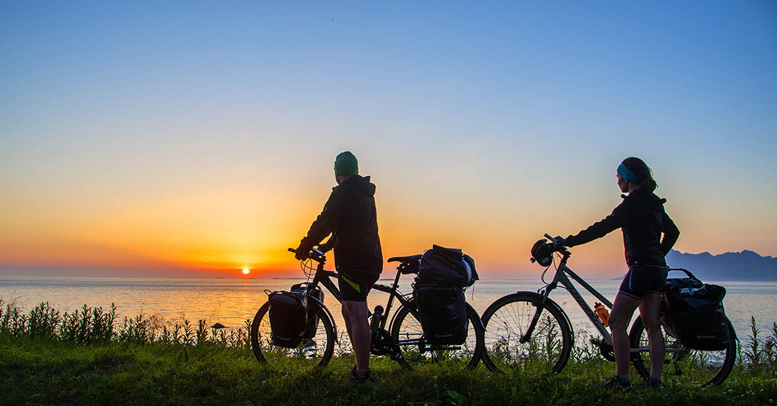 Cycling is a popular activity in under the midnight sun in Vesterålen