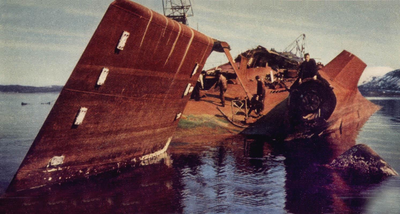 Vraket av Tirpitz ble hugget opp i 1949 (©) Tirpitz Museet