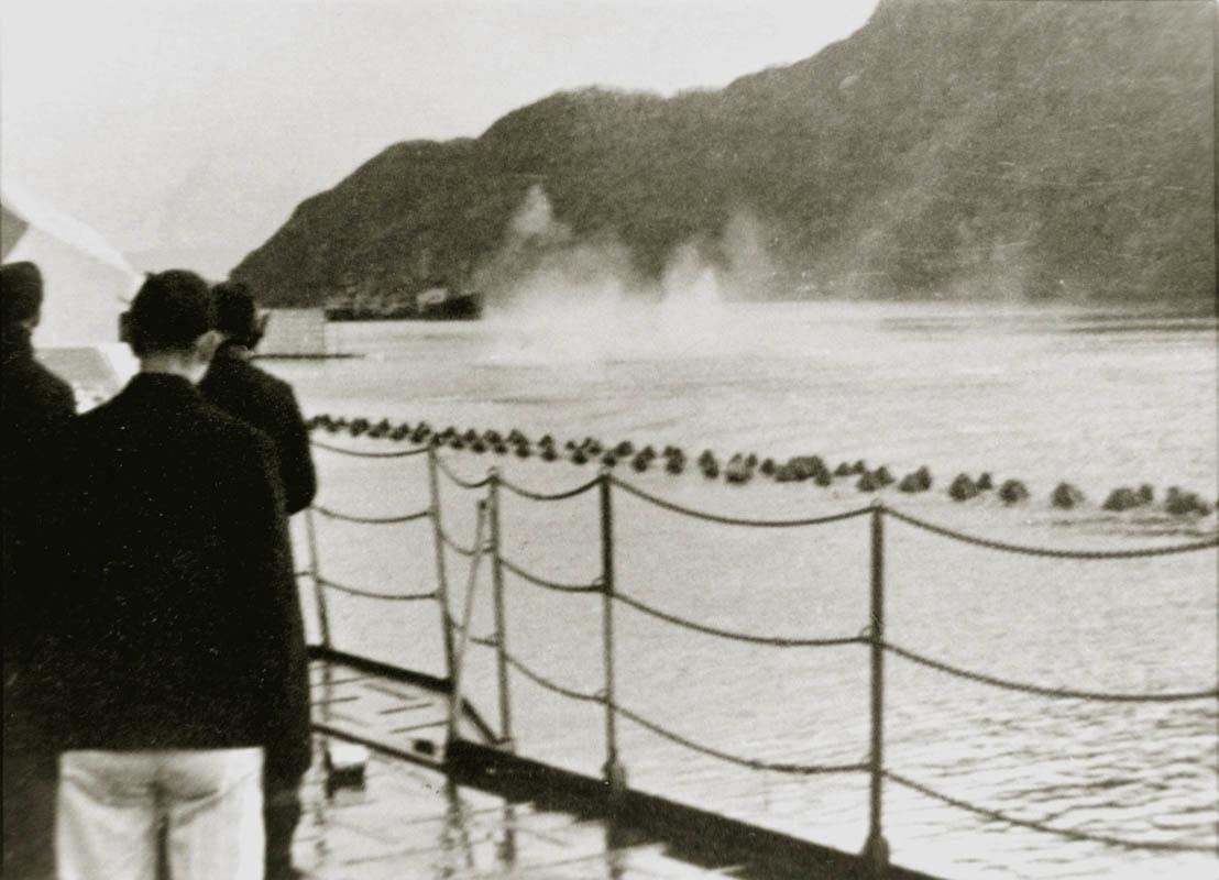 Kåfjorden utenfor Tromsø i 1943 (©) Tirpitz Museet