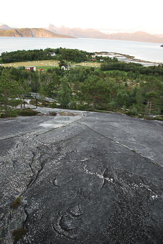 Blikk nedover Dyreberget mot bebyggelsen på Leiknes (c) Knut Hansvold