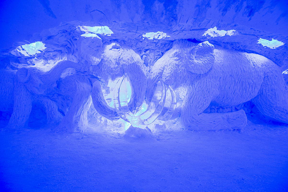 The sculptures are detailed and lit with light to make them stand out © Igloo Hotel Alta Sorrisniva