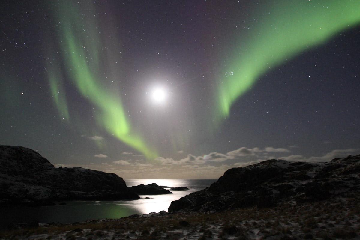 Nordlys fra fjellet ved Nyksund © Cecilie Eckert