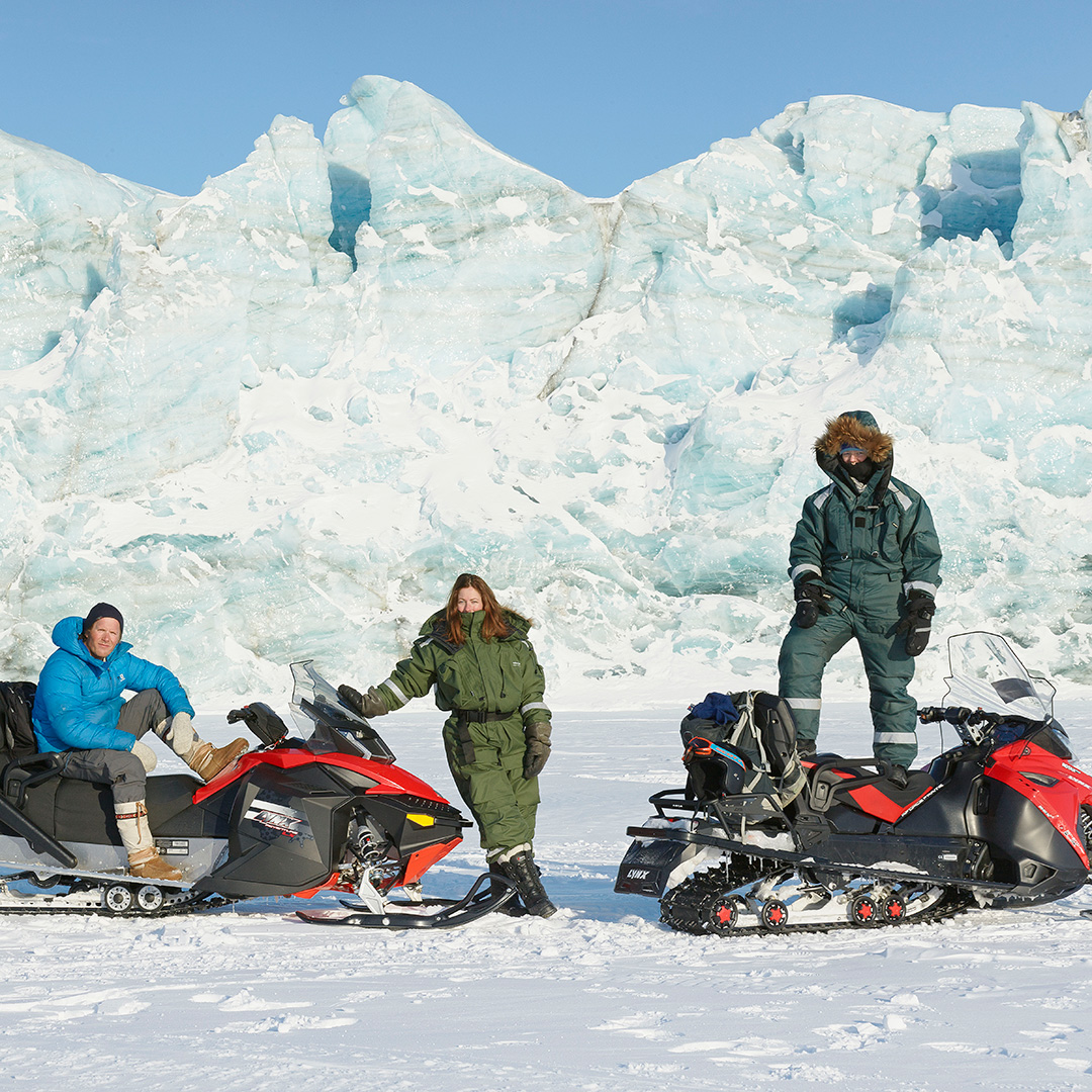 You can join an organized snowmobile trip when visiting Svalbard