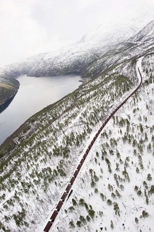 Ofotbanen seen from a helicopter © Hilde Lillejord