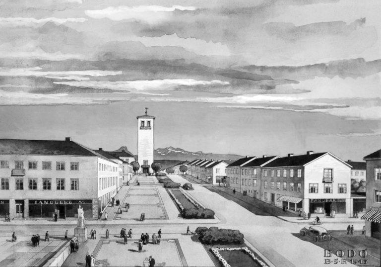 Skisse til gjenreisning frå 1943 © Gjengitt med løyve frå Nordlandsmuseet