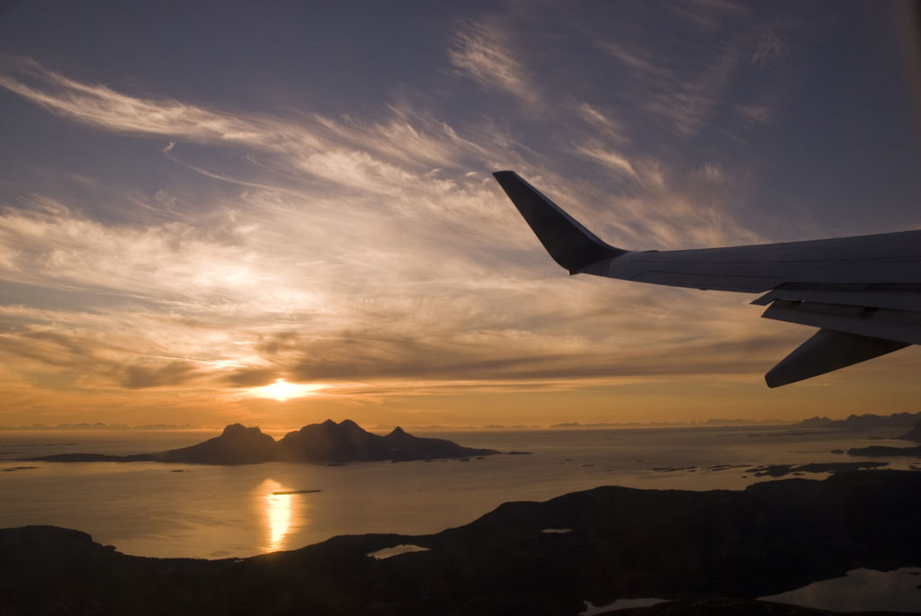 Island of Landegode seen from the air, with Midnight Sun © Ernst Furuhatt