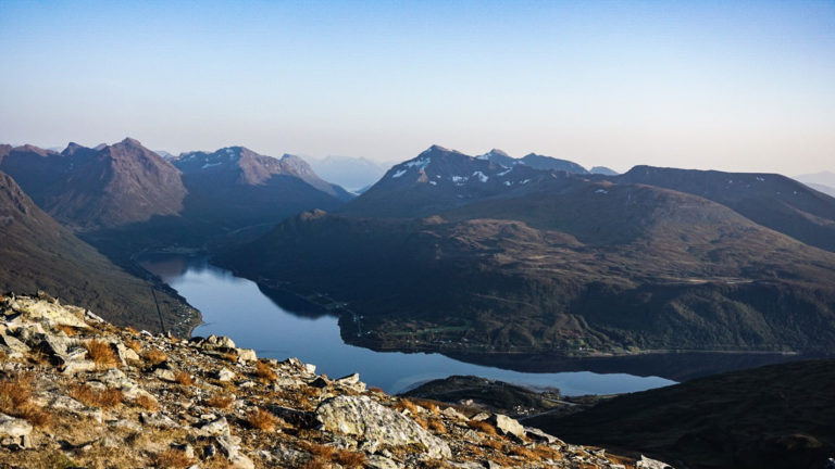 Late summer view from Mount Tromsdalstind down on the fjord Ramfjorden © Knut Hansvold