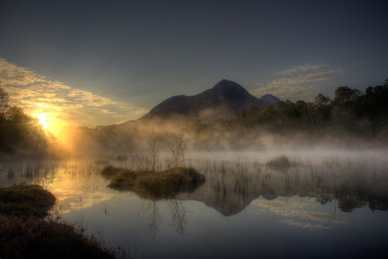 The mist forming over the bog by the cooling evening lends an air of mystery © Vesterålen Tours