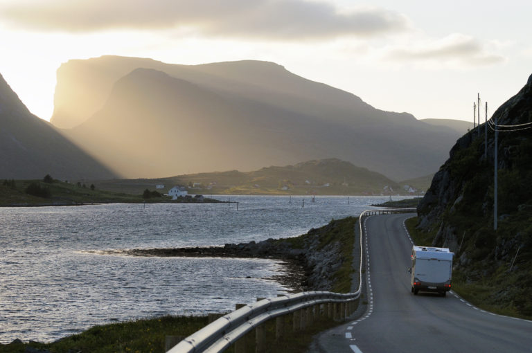 Drving around the Lofoten Islands at Midnight is playing hide and seek with the Midnight Sun © Jarle Wæhler/Statens vegvesen