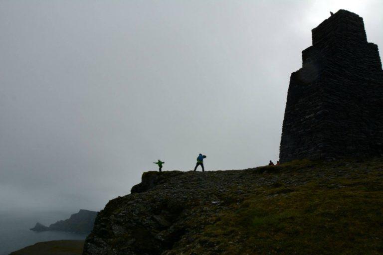 Kjøttvikvarden is a navigation marker for sailors, sitting on a cliff the Barents sea crashes against the rocks below © Knut Hansvold