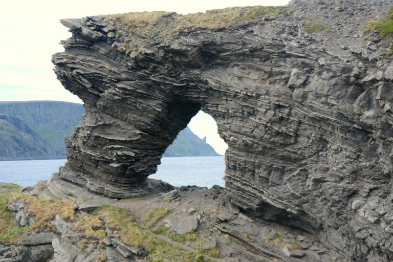 Kirkeporten is just as interesting up close with fantastic geological formations © Knut Hansvold