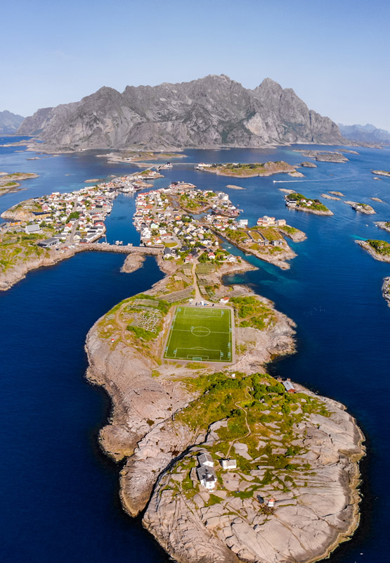 soccer field in henningsvær lofoten norway