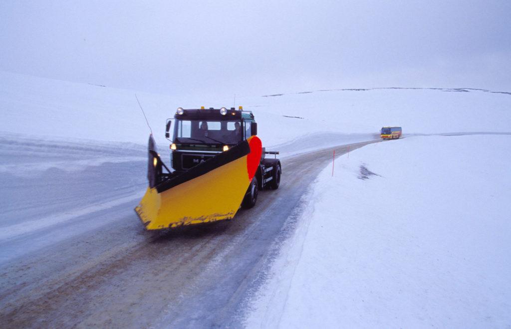 snøplog til nordkapp om vinteren