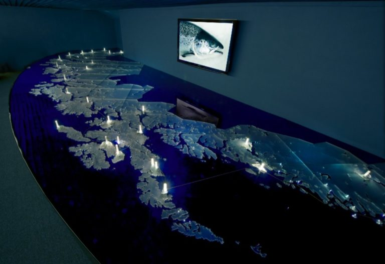 An exhibit showing fish farm locations along the Northern Norwegian coastline © Alvin Jensvold/Akvakultur i Vesterålen