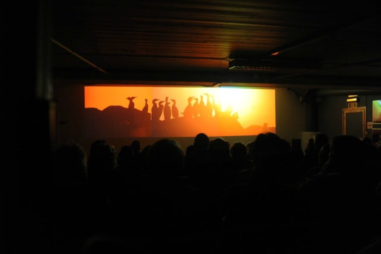 The projection of the slideshow that represents Lofoten through the seasons © Knut Hansvold