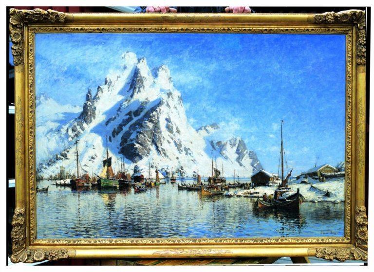 A painting from Gunnar Berg of Svolvær Port, Lofoten © Galleri Lofotens Hus