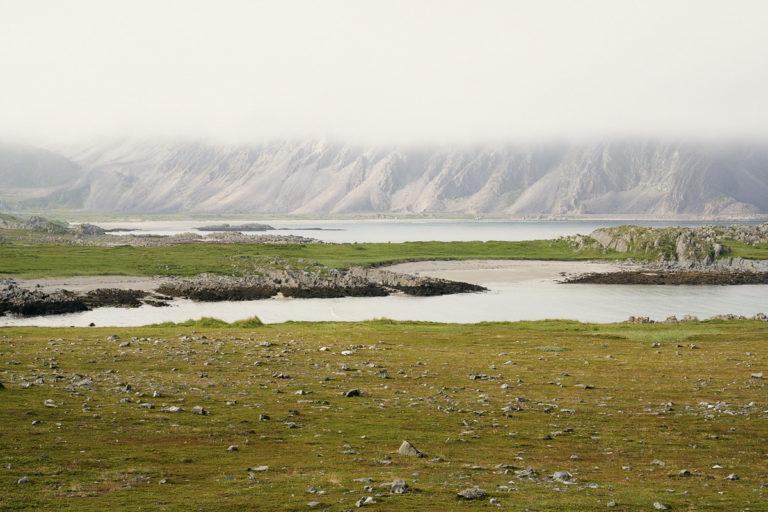 Skjermet av fjellene er gressvollene ved Løkvika ut mot Sandsfjorden frodige og grønne. Dette partiet ligger på Ishavsveien mellom Kongsfjord og Berlevåg © Emile Holba