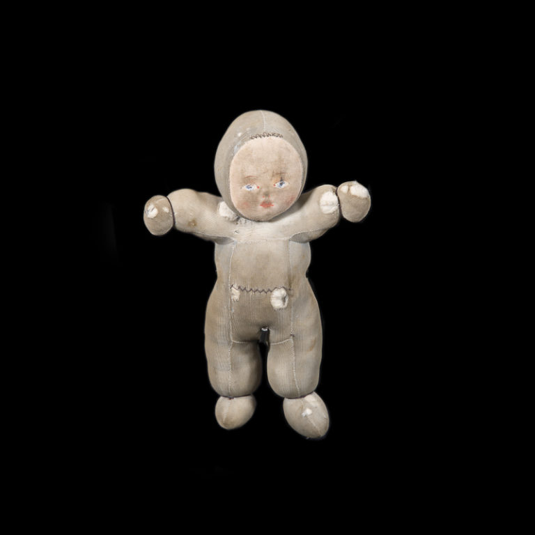 This little doll was brought along as 1-year old Bjørn from Narvik was evacuated on the 29th of May to a cabin in Herjangen. The family spent time there to avoid the fighting. Bjørn found the doll in 2010 when tidying up at the cabin © Narvik War Museum