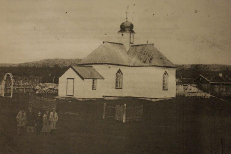 Bilde av kirken slik den så ut på 1800-tallet, da med en empirekuppel på tårnet