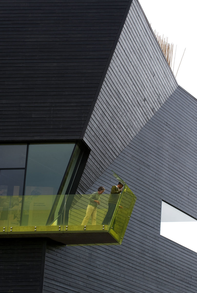 The yellow balcony represents jealosy at the Hamsun Centre © Ernst Furuhatt