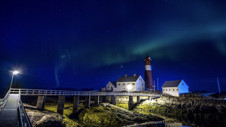 Aurora over Tranøy Lighthouse © flightseeing.de
