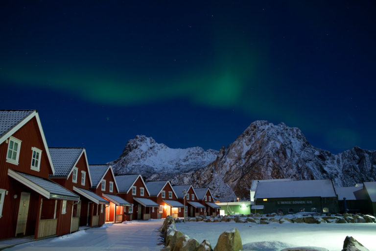 Holiday homes in Lofoten. Yes...and Aurora herself © Johnny Mazzilli