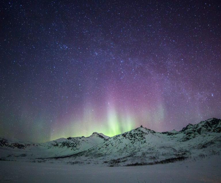 Faint violet over Kattfjordvatnet. Party beyond the mountain? © William Copeland