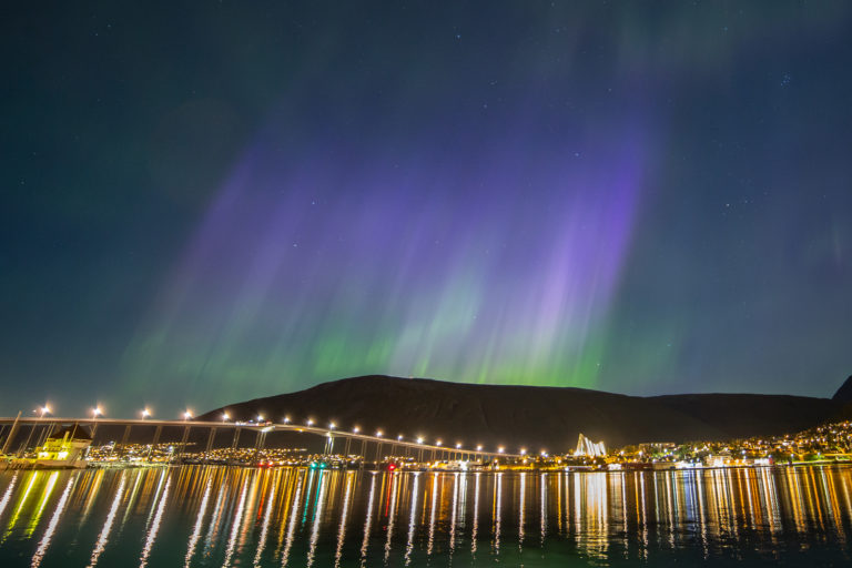 Northern Lights photo taken in the middle of Tromsø, taken by © Willam Copeland