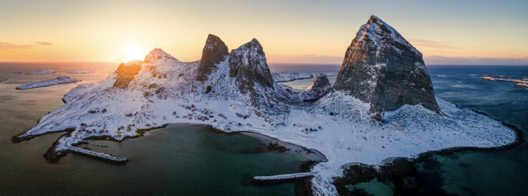 The winter sun sets over Sanna island. This is the furthest out of the 20 000 islands of Helgeland. Greenland is next! © Arvids Baranovs