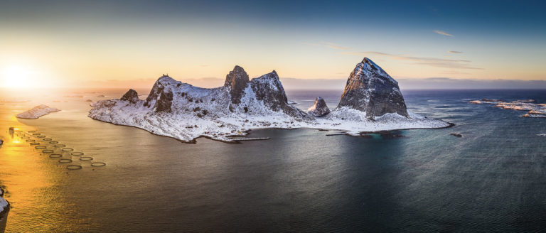 The islands of Træna, with the biggest island of Sanna in the midle. Mount Trænstaven is to the right, and then the other peaks. Most people, though, live on the smaller island of Husøya, that you see on the left edge © Arvids Baranovs