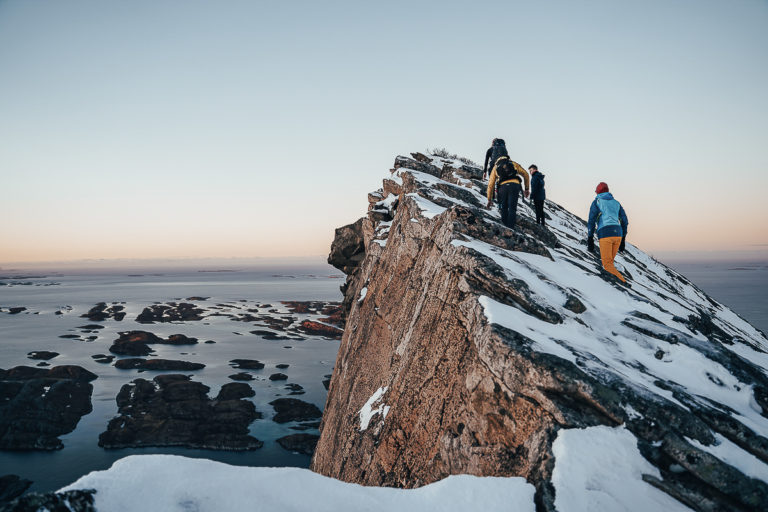 Finally at the top of the Rødøyløva peak, and 20 000 islets surround us all around © Simon Fossheim