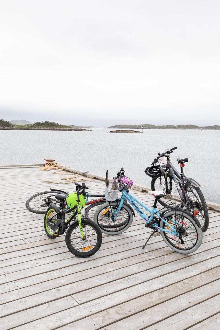 Ungene sykler ned på kaia for å se hvem som kommer. Fra Rørøy på Vega © Kathrine Sørgård