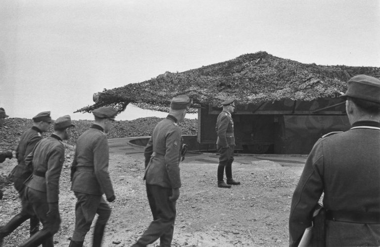 General Jodl inspecting the fortifications at Cape Kibergneset