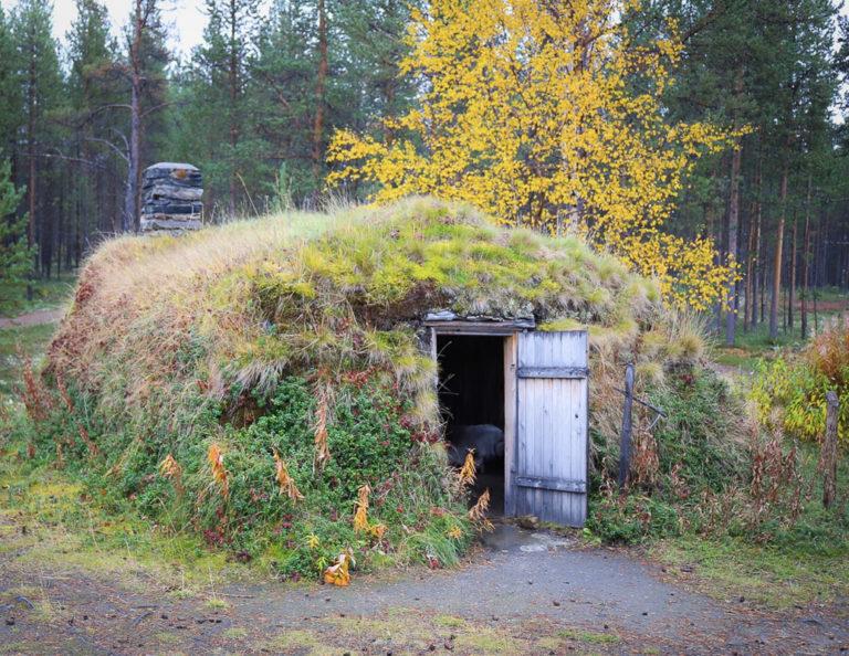 Sparrolavdnjegoahti i friluftsmuseet på høsten. Dette var en permanent bolig ©RDM-SVD
