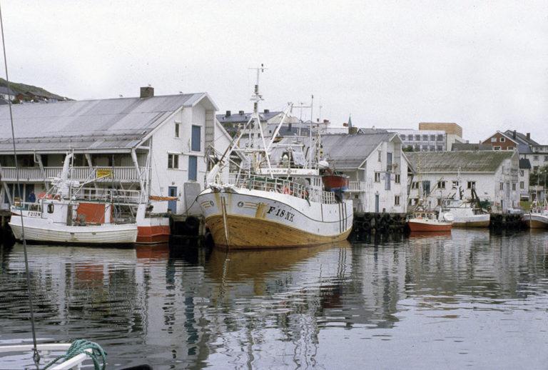 Fiskernes servicesentral i Honningsvåg, med langstrakte bygninger som minner om de gamle bryggene © Ingebjørg Hage