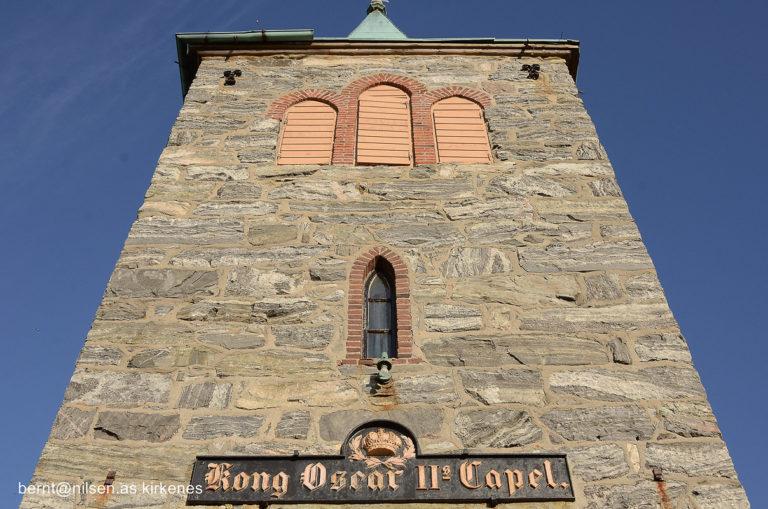 Tårnet på Kong Oscar II kapell fra 1869 © Bernt Nilsen, Kirkenes